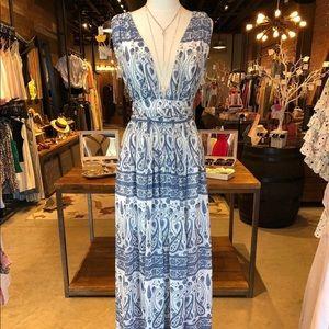Deep V Neck Back Twist Maxi Dress BLUE Medium